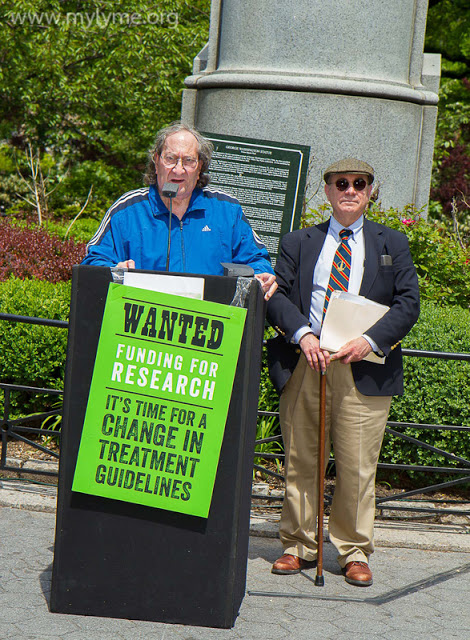 Dr Jones talking to the crowd at the Worldwide NYC Lyme Rally standing by is Dr Kenneth Liegner. Photo by Chrysa http://mylyme.org/