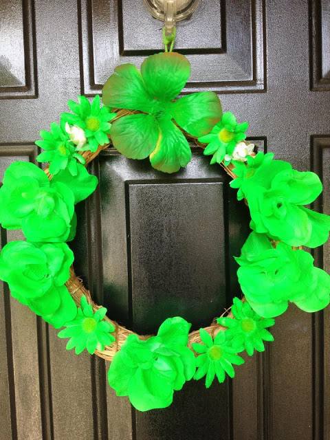 Amy's handcrafted wreath she hung up for Lyme Awareness!
