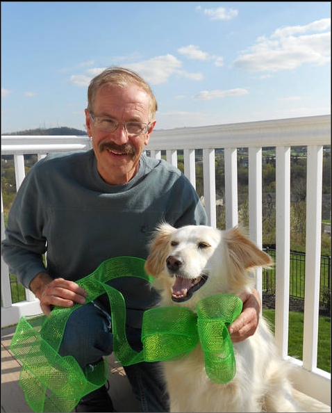 Eric and his dog greening up in Harrisburg, PA for Lyme Awareness!
