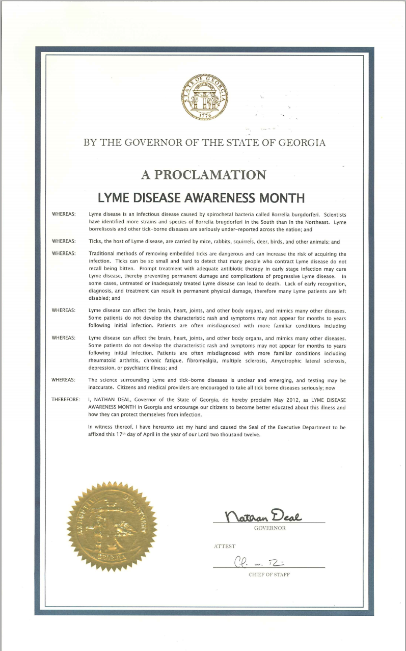 Georgia May is Lyme Disease Awareness Month Proclamation