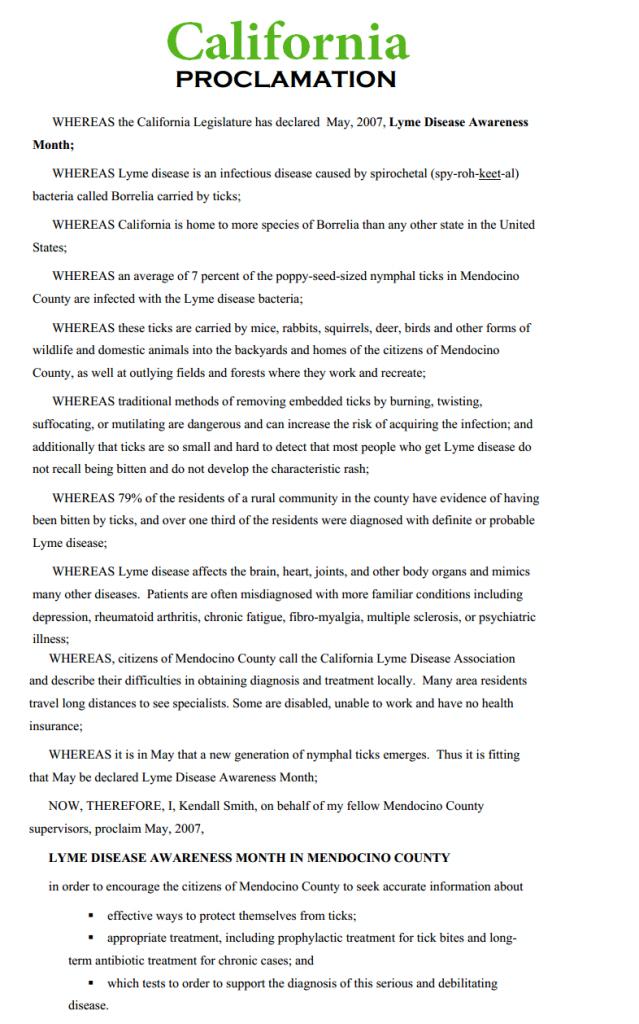 California Lyme Proclamation