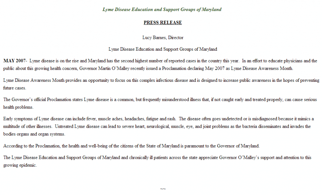 maryland may is lyme awareness month proclamation