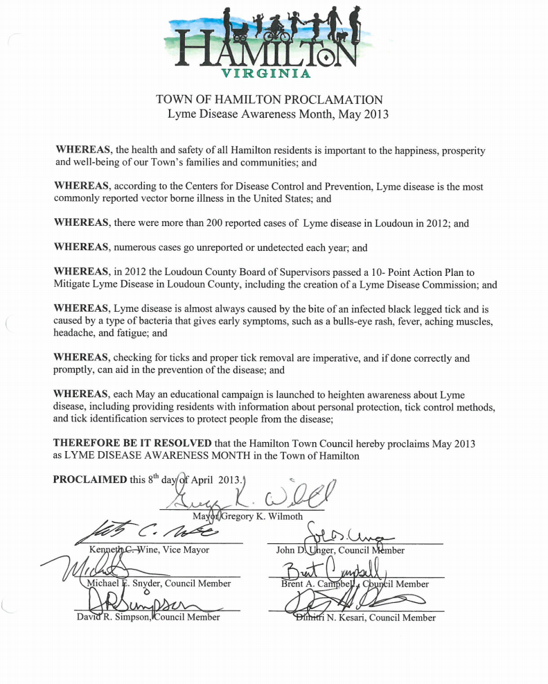 Virginia May is Lyme Awareness Month Proclamation 2013
