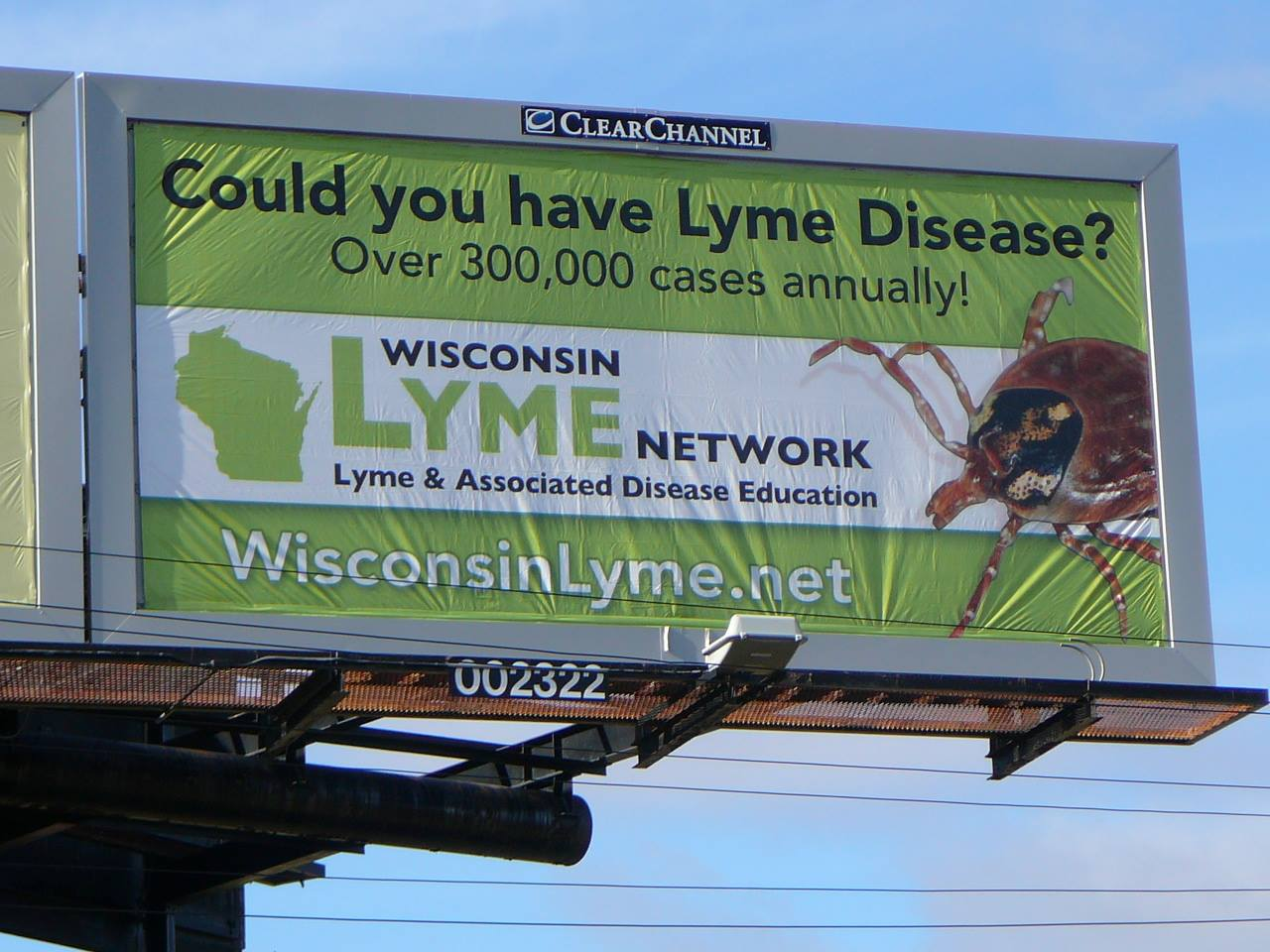 The Wisconsin Lyme Network nonprofit organization just launched a Lyme Awareness Campaign and placed 5 poster billboards up in South eastern WI. This one is located on Capital Dr. in Pewaukee. More Information at: Wisconsin Lyme Network