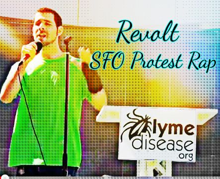 "Zach Reed, aka ""Revolt,"" performs a rap song at the IDSA Lyme disease protest at San Francisco's Moscone Center, Oct. 5, 2013."