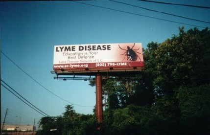 This billboard is in Columbia, NC. This was done in May, 2000, for National Lyme Awareness month. See More Information at: North Carolina Information