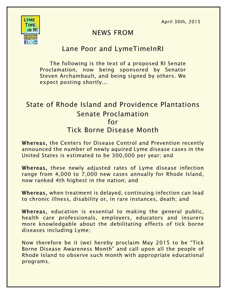 Rhode Island Lyme AWareness Proclamation