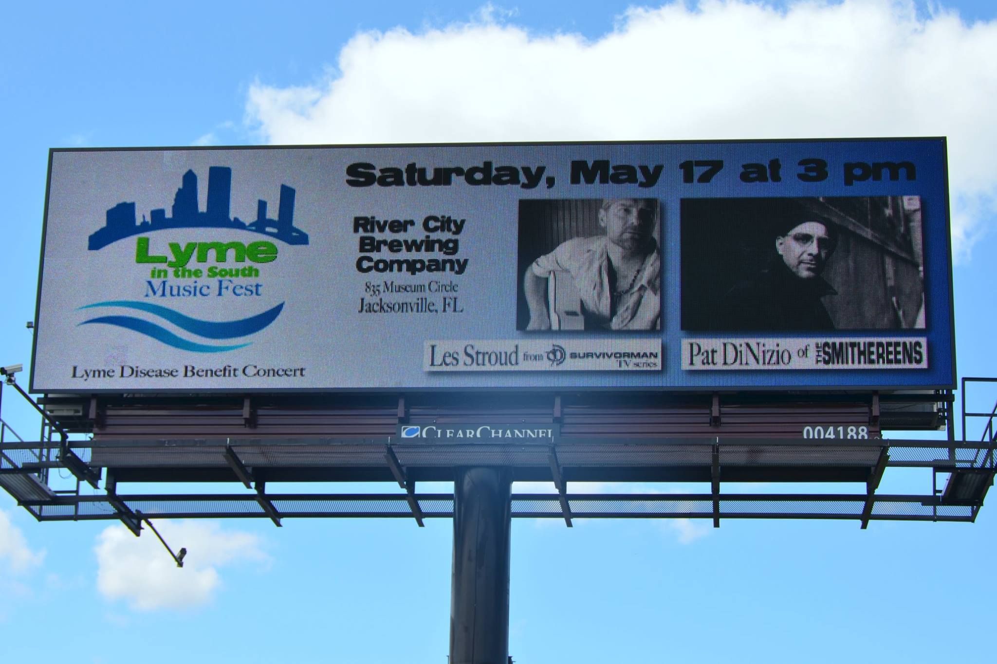 Lyme in the South Music Fest advertisements will run for the next four weeks in the following Jacksonville, Florida locations: 1. Philips Highway south of Baymeadows Road facing south 2. Blanding Boulevard north of I-295 facing north 3. I-10 west of Lennox Road facing east