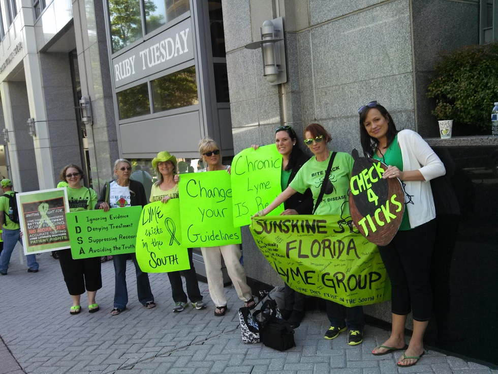 Lyme patients gathered in front of the IDSA headquarters.