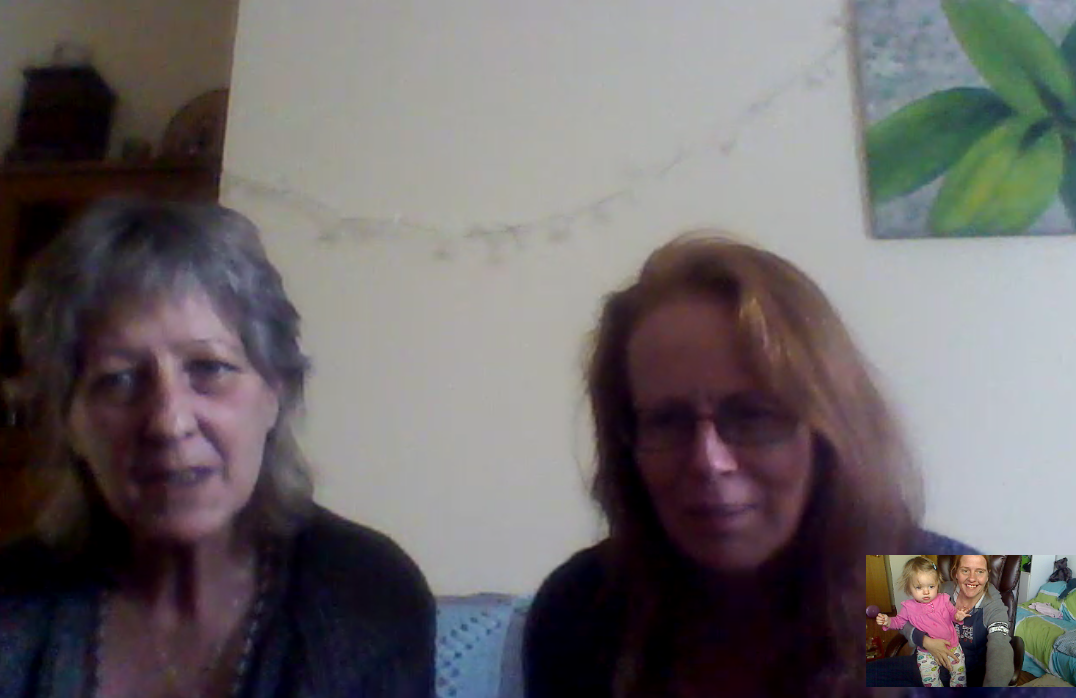Skyping with friends around the world, Denise Longman (UK) Karen Smith (Australia), and Lisa Hilton and Raya (US)