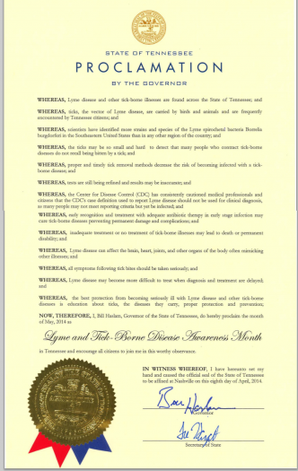 Tennessee May is Lyme disease Awareness Month Proclamation
