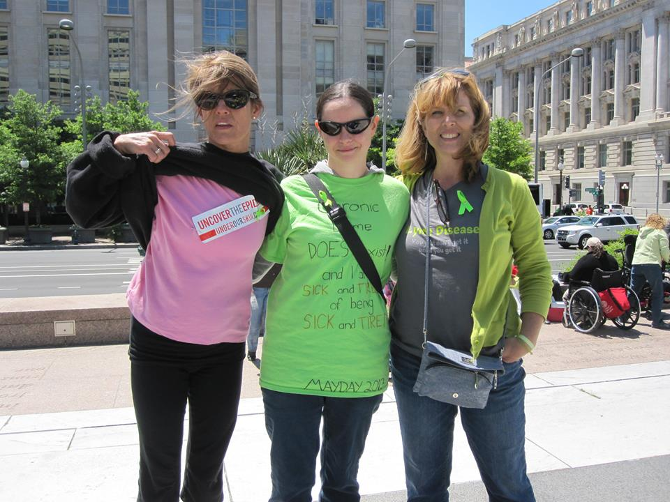 At the Mayday Lyme Awareness Protest in 2013 Left: Lucy Miller, Adrienne, Kelly Edmonds