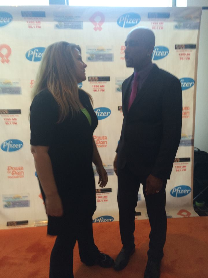 "Laurie talking to Montel Williams at the  Lyme disease awareness booth at the ""Power of Pain Foundation"""