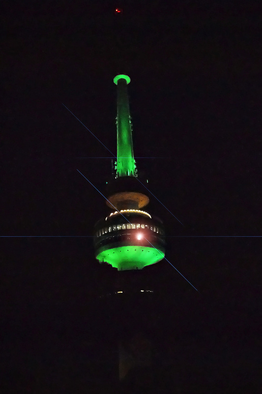Telstra Tower lighitng up green Photo Credit: Alana Brown