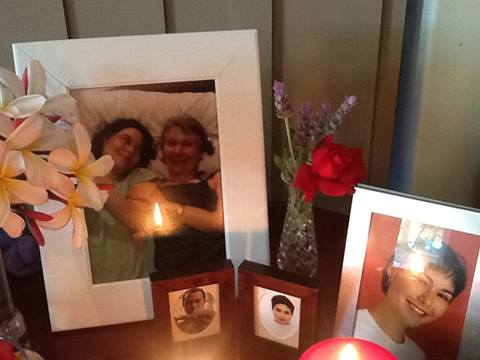 Photo to the Left: Candles and pictures from Theda's Mum, Carol Adams