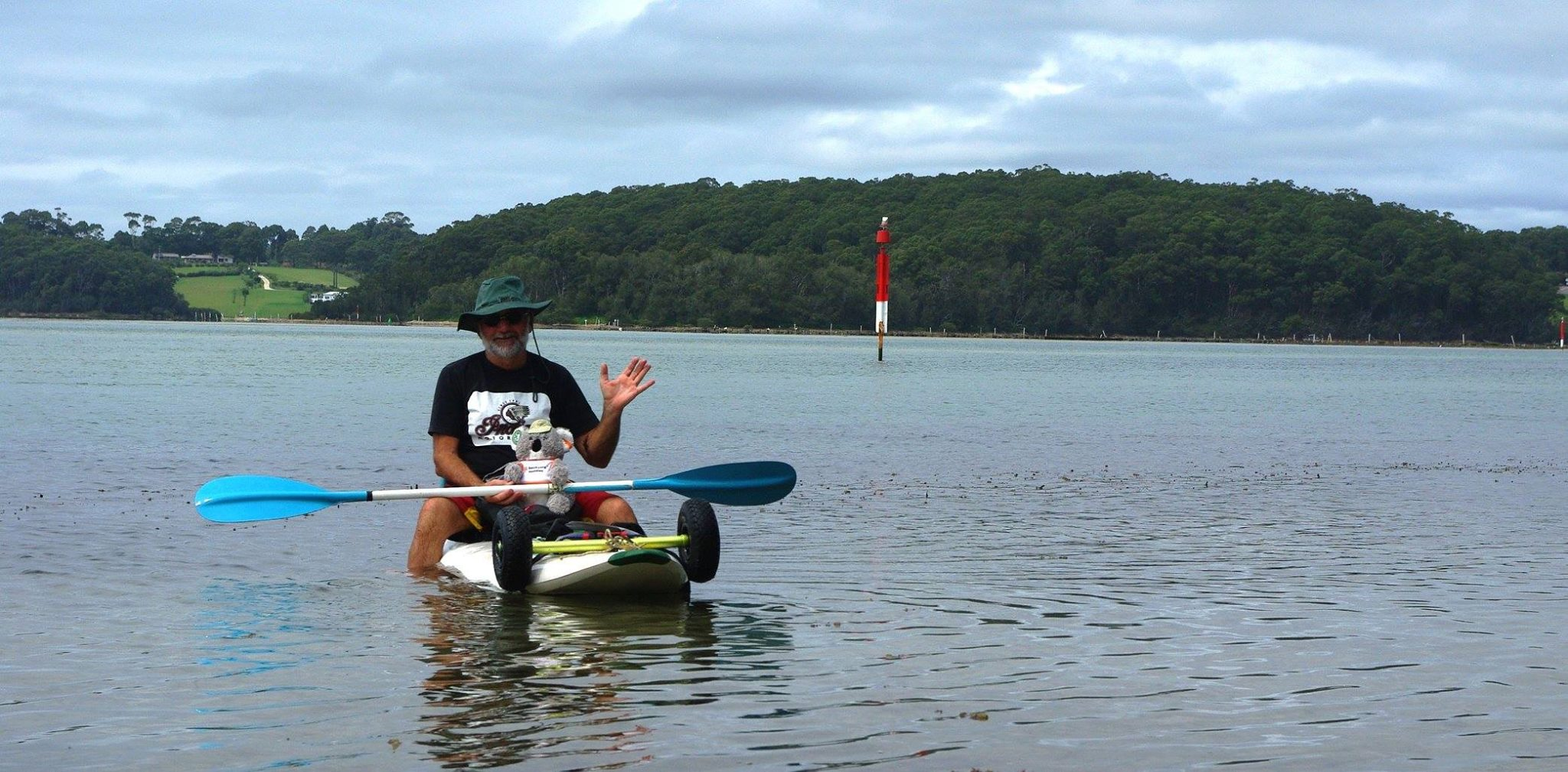 KB also lent a hand to Nurk kayaking on Wagonga Inlet.