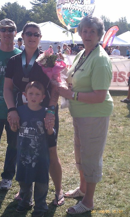 Nancy with her daughter Angela in 2011 at the Timberman Ironman. Her daughter is also a big Lyme disease activist.
