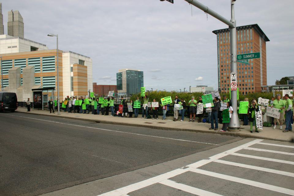 Nancy at the Boston Lyme IDSA Lyme Protest, she is second from the right.