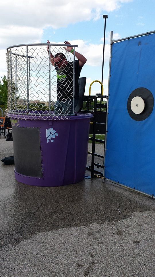Someone getting dunked at the Lyme Ride for Erica Photo Credit: Kathy Flores