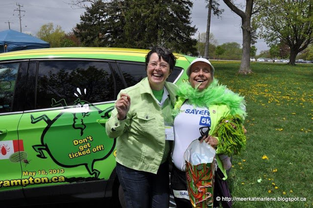 "Marlene in front of the ""Lyme Awareness Car"" at the LymeSavers 5km Walk Whitby, Ontario"