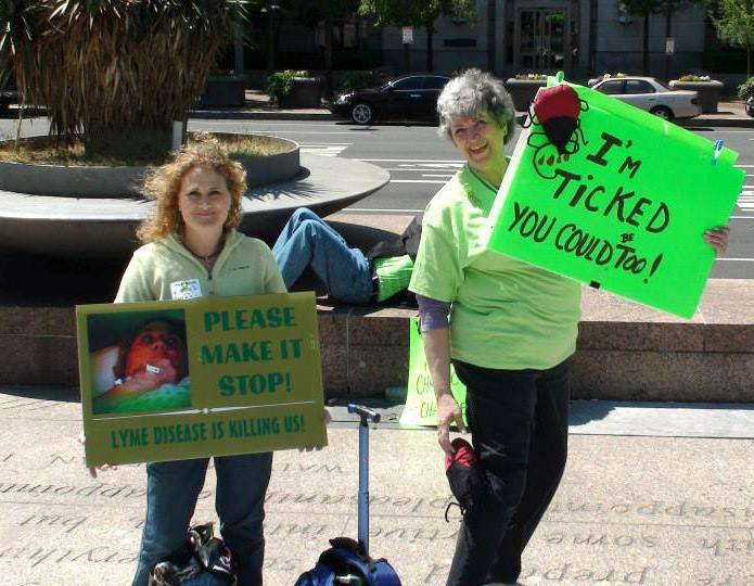 Tracy Will and Nancy Bourassa at the 2013 Mayday Lyme Protest.