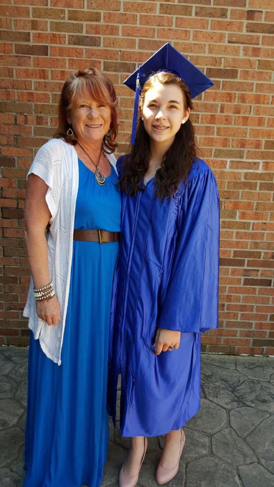 """As sick as Katie was the last half of the year and missing 43 days of school this was a huge day for us. She did not let Lyme rule her she not only graduated with her 8th grade class but she did it with honors!"" Says Crystal about her daughter."